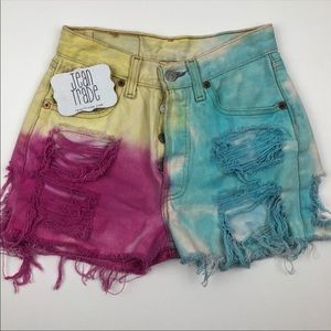 Levi's Vintage 501 Tie Dye Cut off Jean Shorts